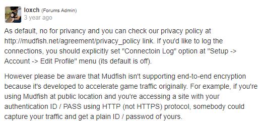 Mudfish website privacy forum