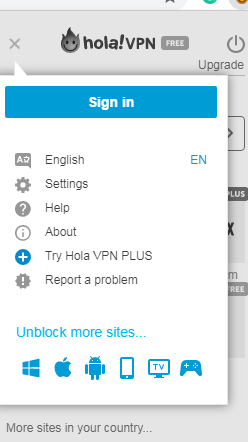 Hola VPN web browser image